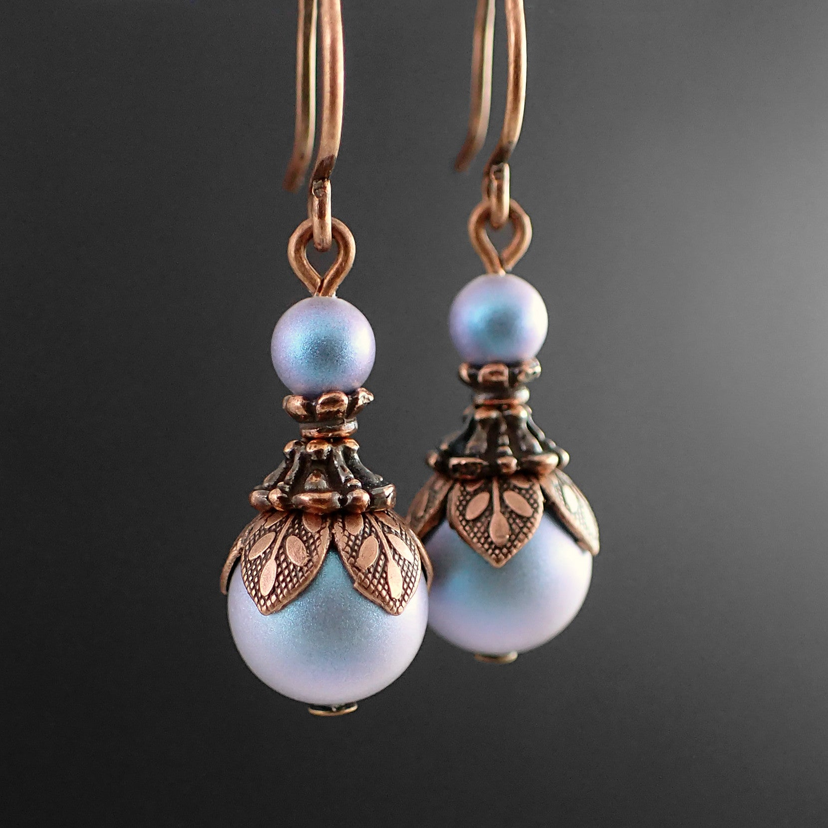 Ethereal Iridescent Blue Swarovski Pearl Earrings - view 2