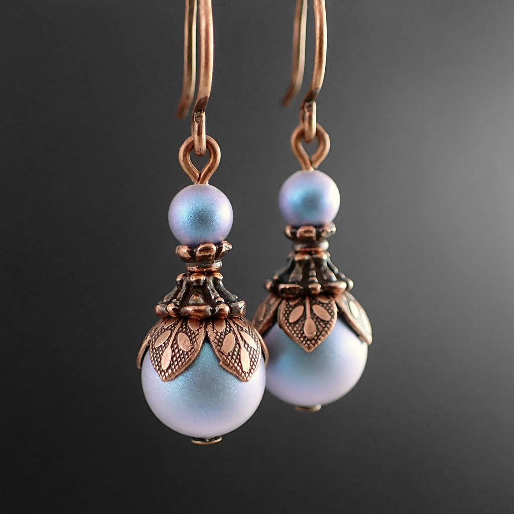 Ethereal Iridescent Blue Swarovski Pearl Earrings