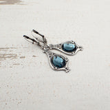 Denim Blue and Antiqued Silver Czech Glass Stone Earrings