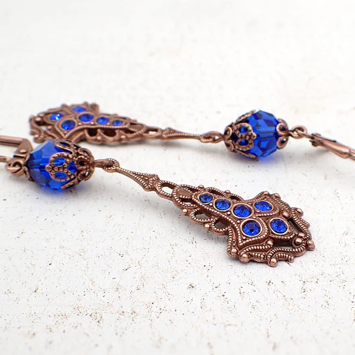 Antique Style Copper Drop Earrings with Majestic Blue Swarovski Crystals