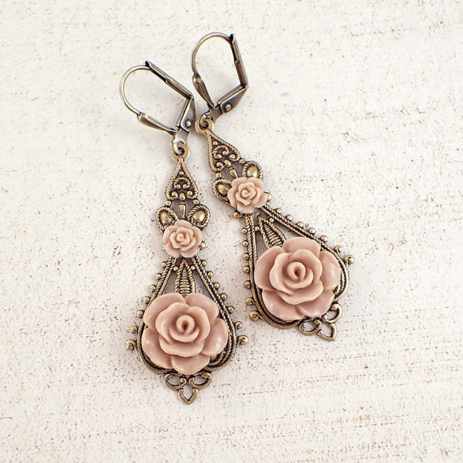 Shabby Blush Resin Rose Earrings