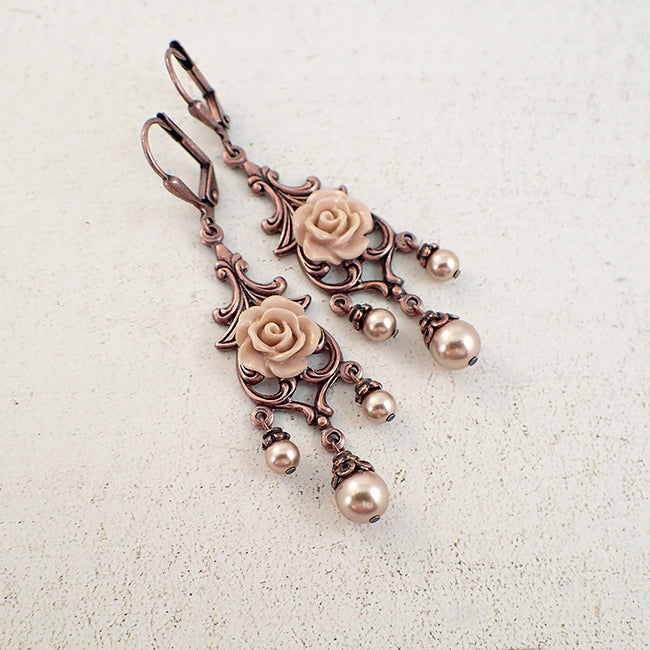 Rose gold pearl and copper floral chandelier earrings ardent rose gold pearl and copper floral chandelier earrings aloadofball Images