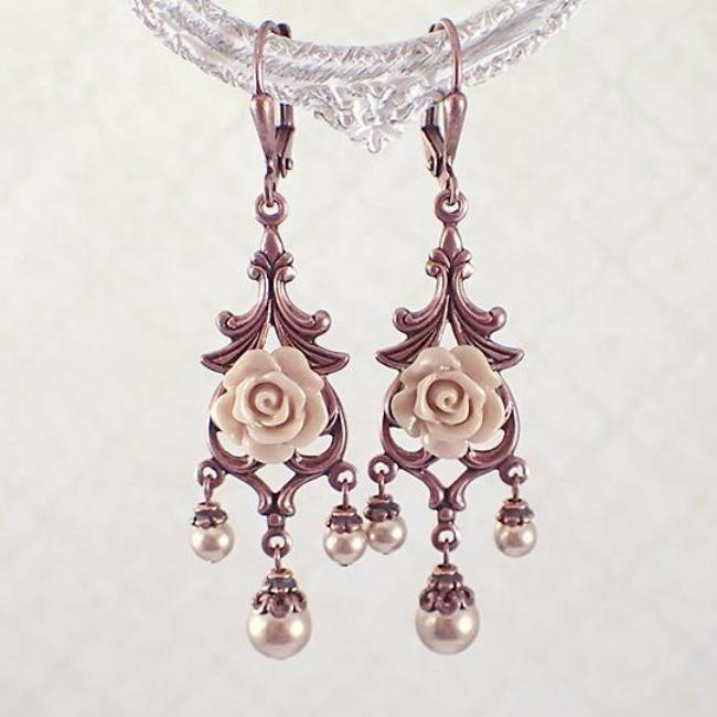 Rose Gold Pearl and Copper Floral Chandelier Earrings