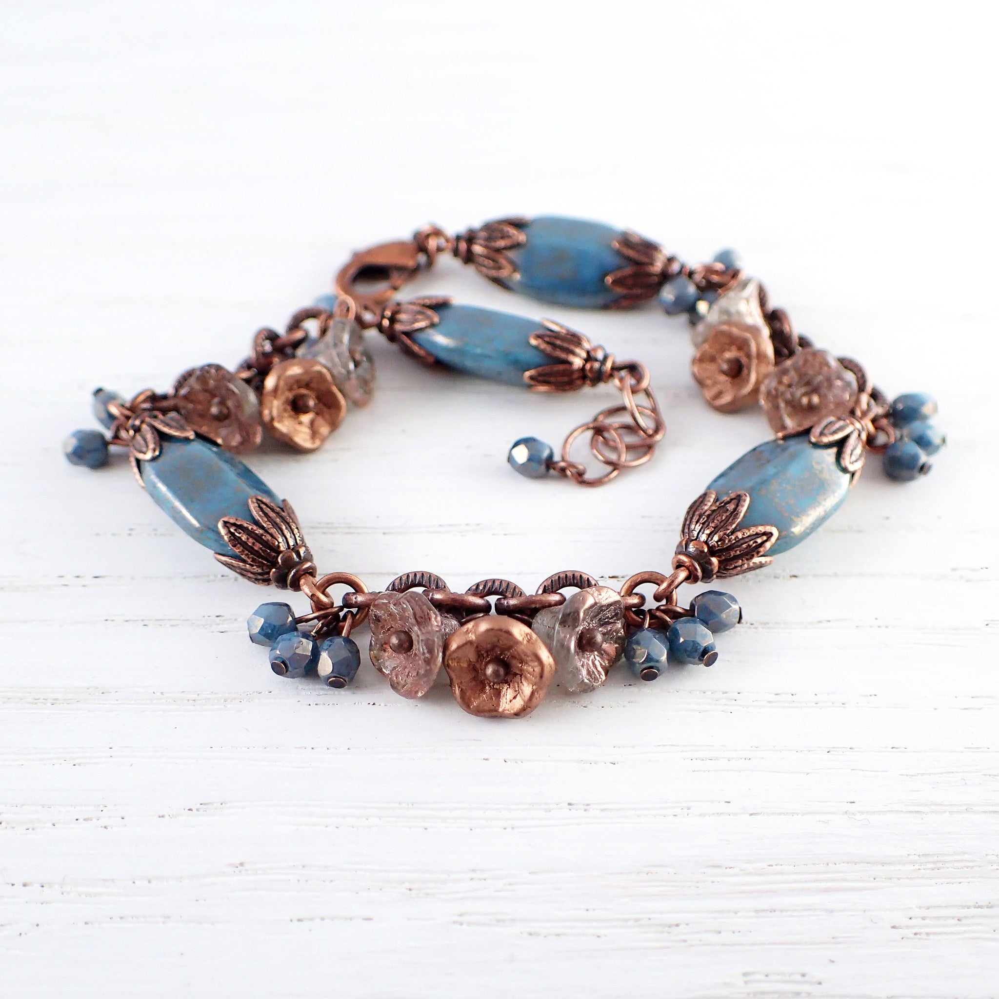 Turquoise Blue and Copper Flower Cluster Bracelet