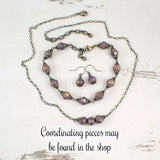 Antiqued Lavender, Ivory, and Bronze Jewelry Set
