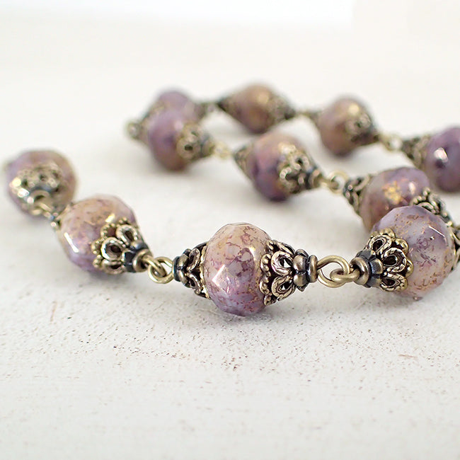 Antiqued Lavender, Ivory, and Bronze Bracelet
