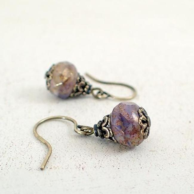 Antiqued Lavender, Ivory, and Bronze Earrings