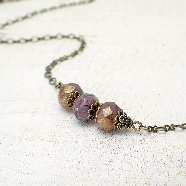 Antiqued Lavender, Ivory, and Bronze Bar Necklace