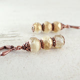 Ivory, Clear, and Gold Stacked Rondelle Earrings