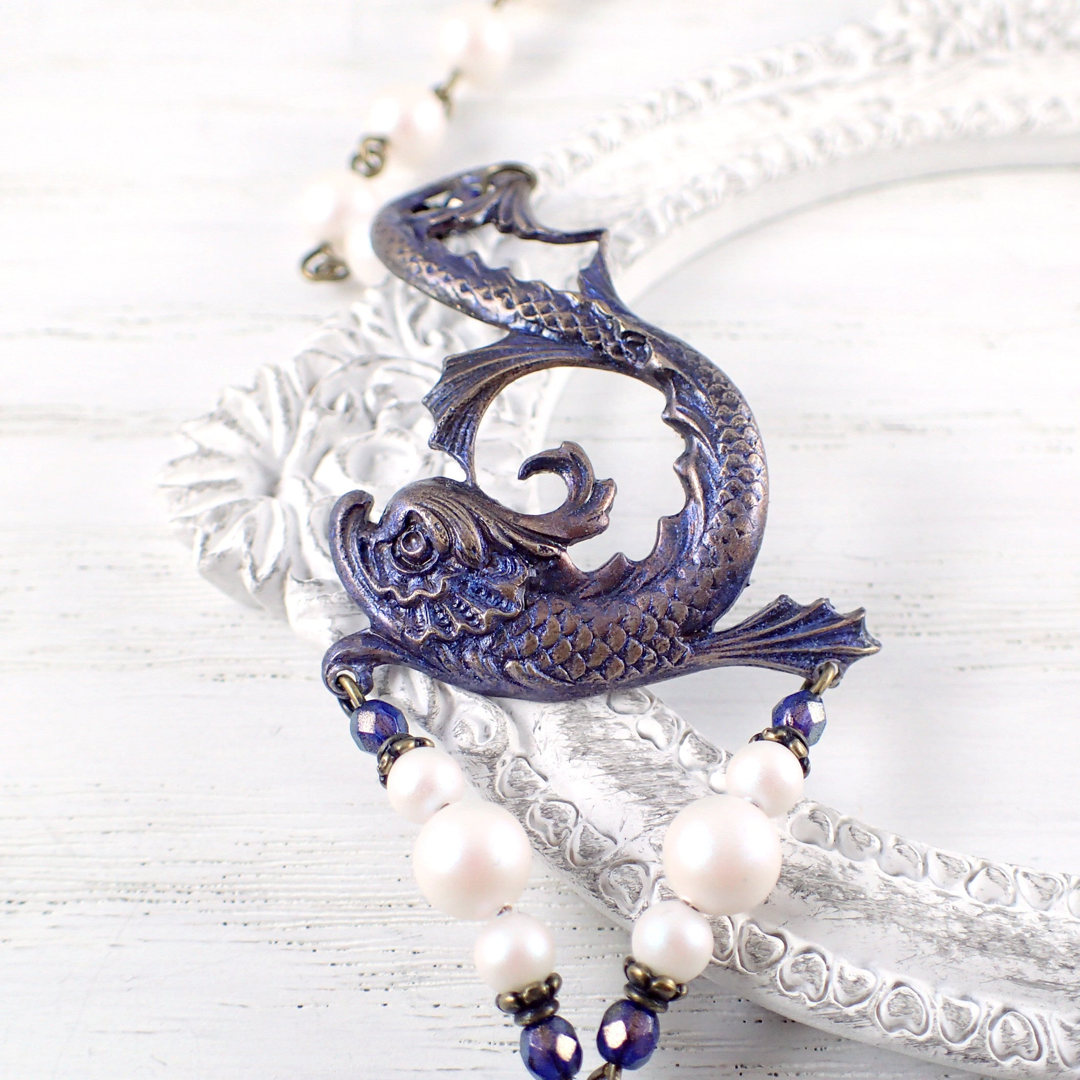 Mythical Sea Creature Bracelet with Swarovski Pearls