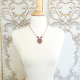 Antiqued Copper and Fuchsia Romantic Filigree Heart Pendant Necklace