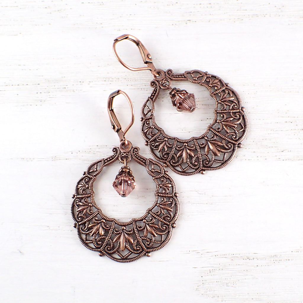 Antique Copper Gypsy Hoop Earrings
