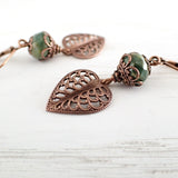 Filigree Leaf Dangle Earrings with Green Artisan Czech Glass Beads view 3