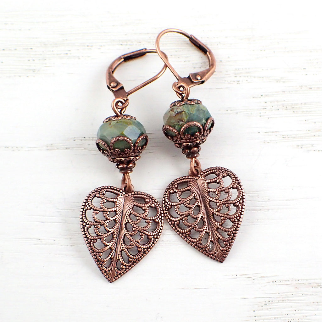 Filigree Leaf Dangle Earrings with Green Artisan Czech Glass Beads