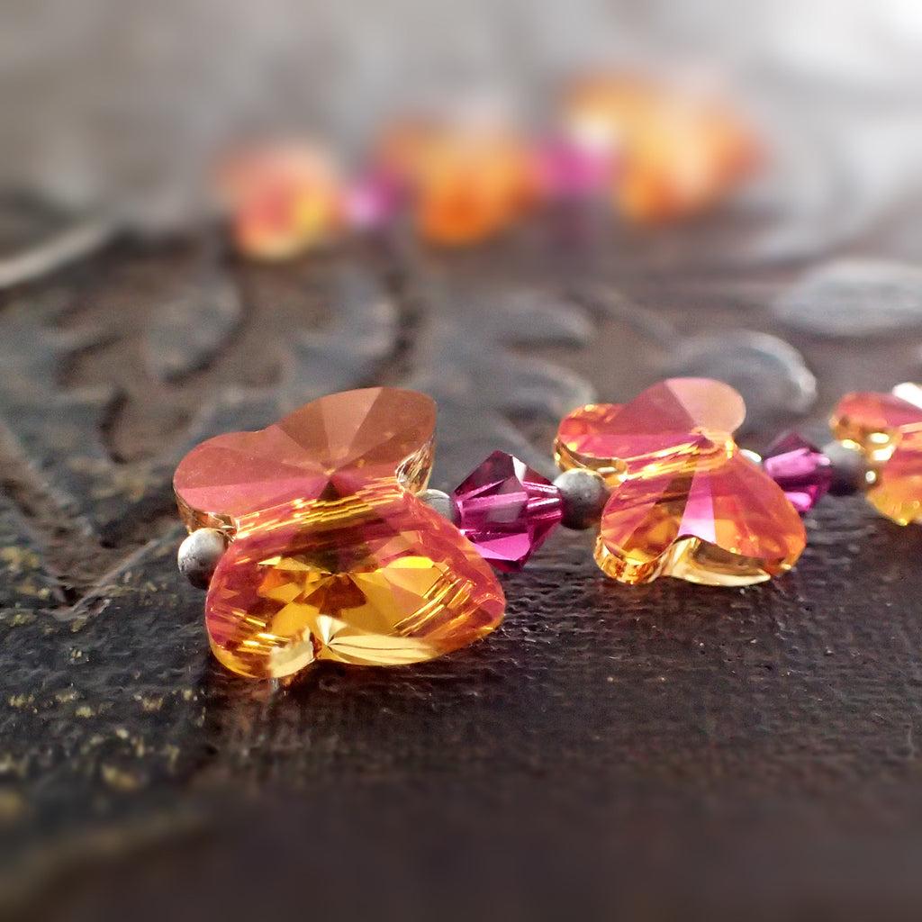 Astral Pink Crystal Butterfly Earrings
