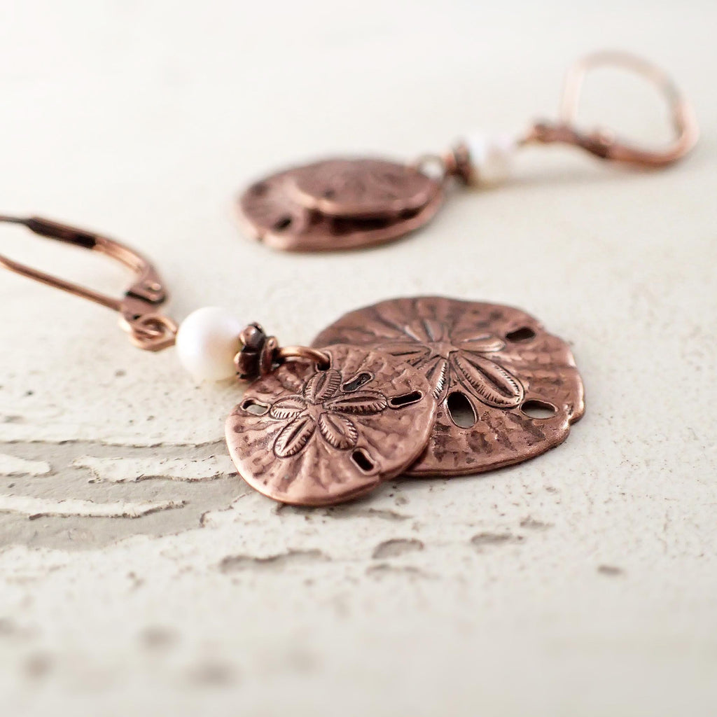 Copper Sand Dollar Dangle Earrings