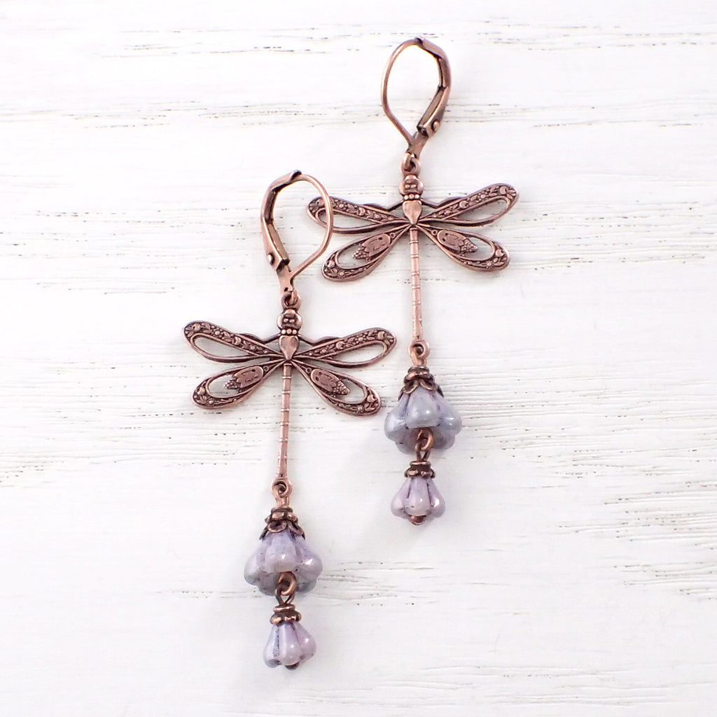 Whimsical Dragonfly Floral Earrings