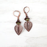 Green Floral Woodland Leaf Earrings view 2