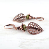 Green Floral Woodland Leaf Earrings