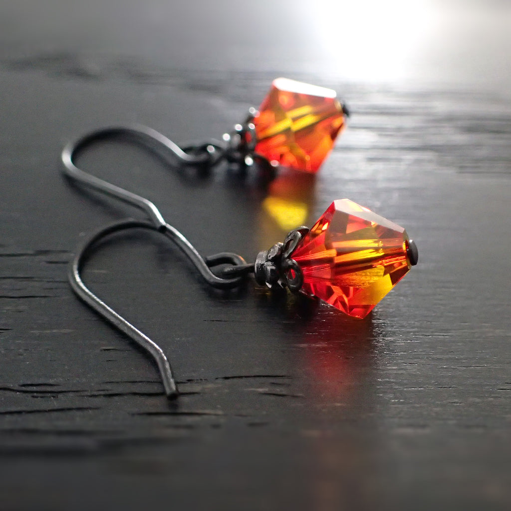 Fallen Phoenix Earrings with Fire Opal Swarovski Crystals