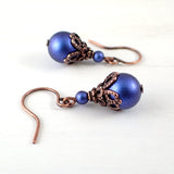 Iridescent Dark Blue and Copper Earrings with Swarovski Pearls