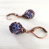 Bright Blue and Copper Caged Crystal Earrings