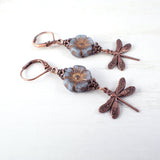 Dusty Denim Blue Nature Earrings top view