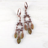 Long Woodland Leaf Earrings