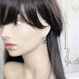 Iridescent Dark Blue and Copper Earrings with Swarovski Pearls mannequin view