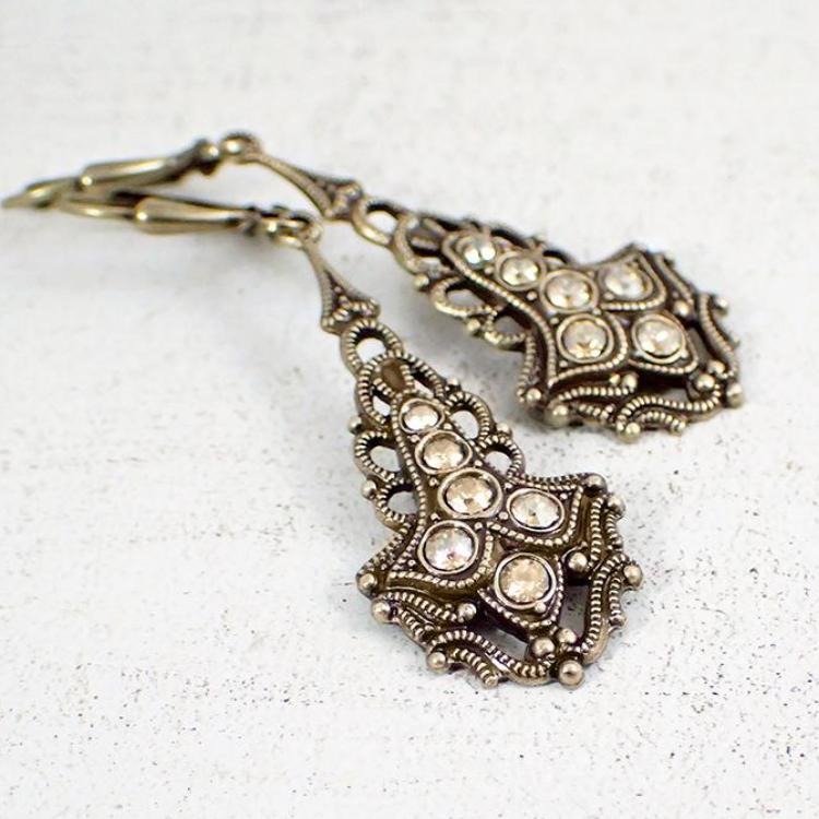 Antique Style Drop Earrings with Gold Crystals