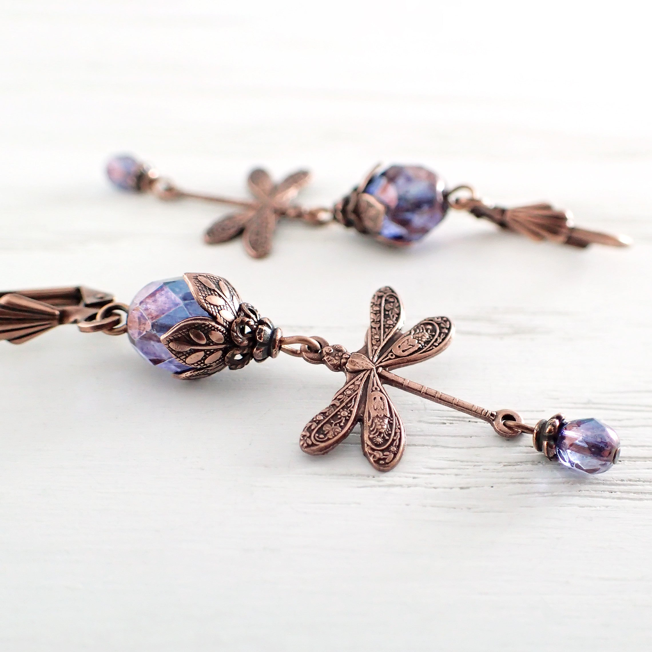Purple and Copper Dragonfly Earrings