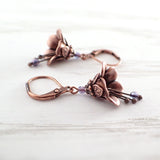 Lustered Purple and Copper Flower Dangle Earrings