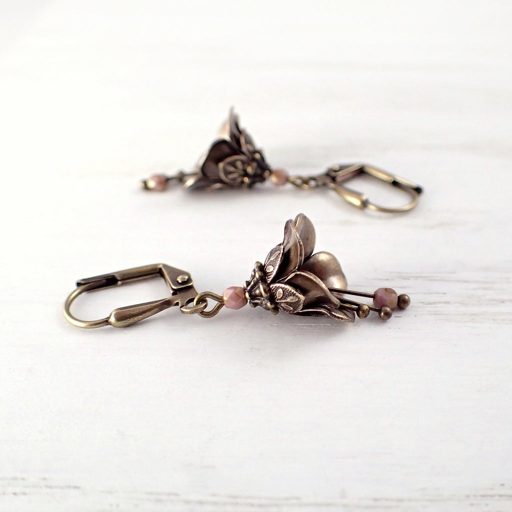 Dusty Pink Metal Flower Dangle Earrings