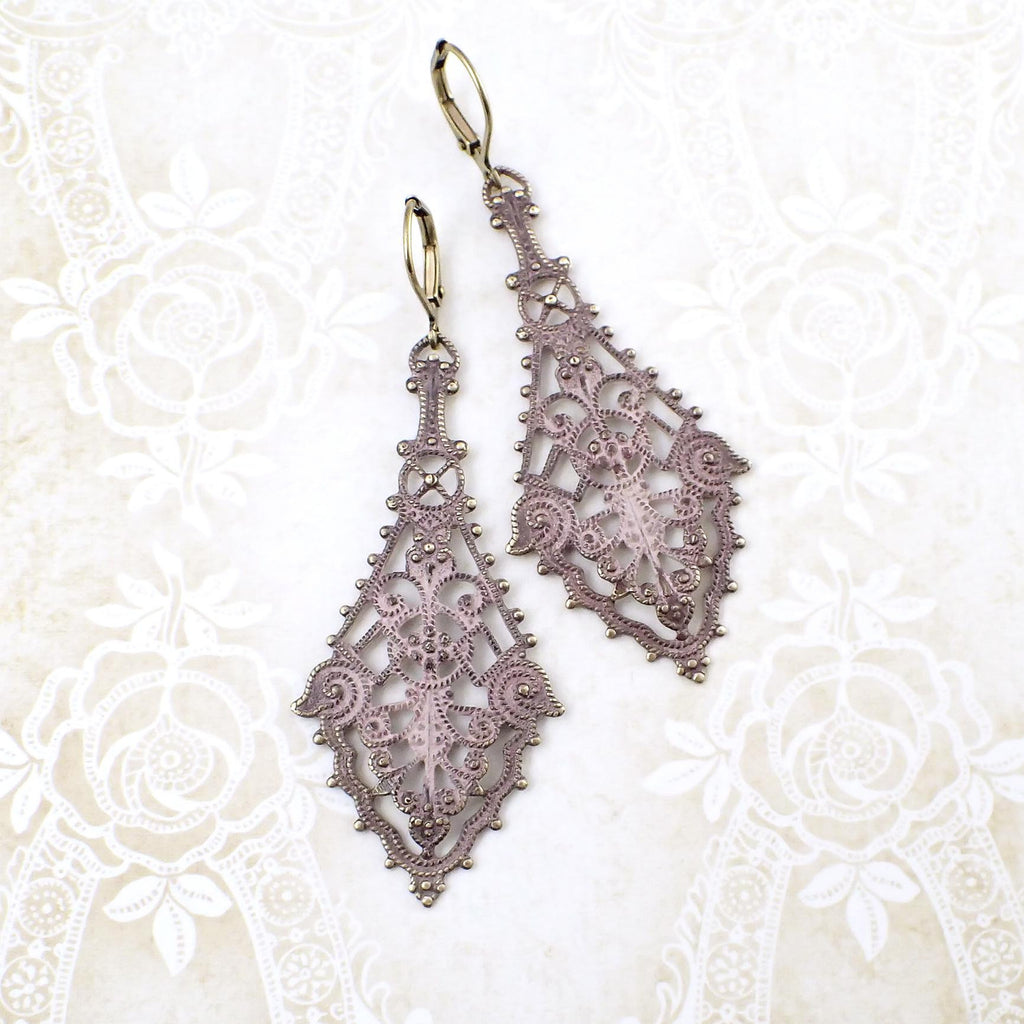 Shabby Distressed Pink Patina Filigree Earrings