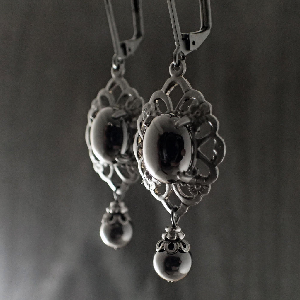 Victorian Mourning Cabochon Earrings