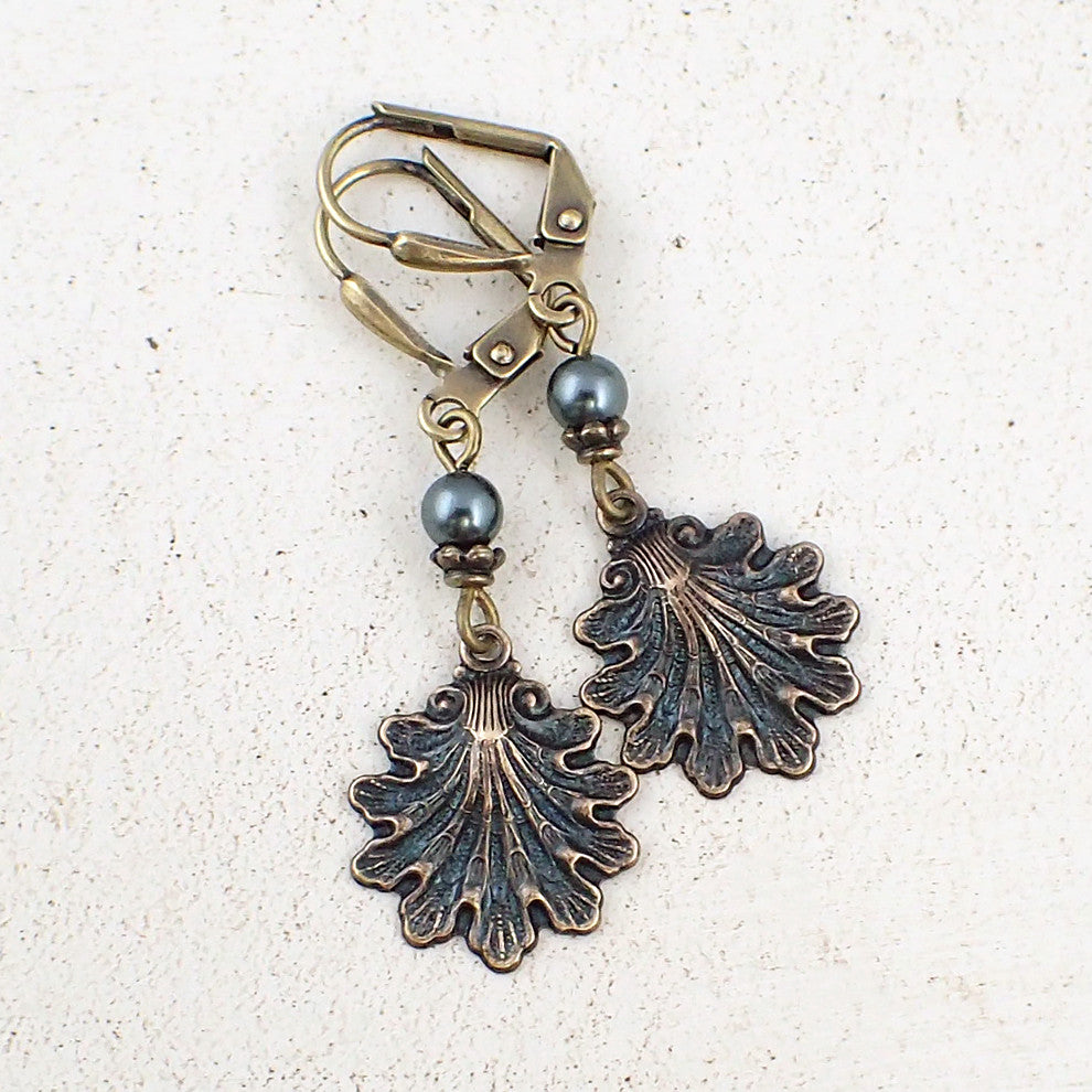Dark Teal Victorian Sea Shell Earrings