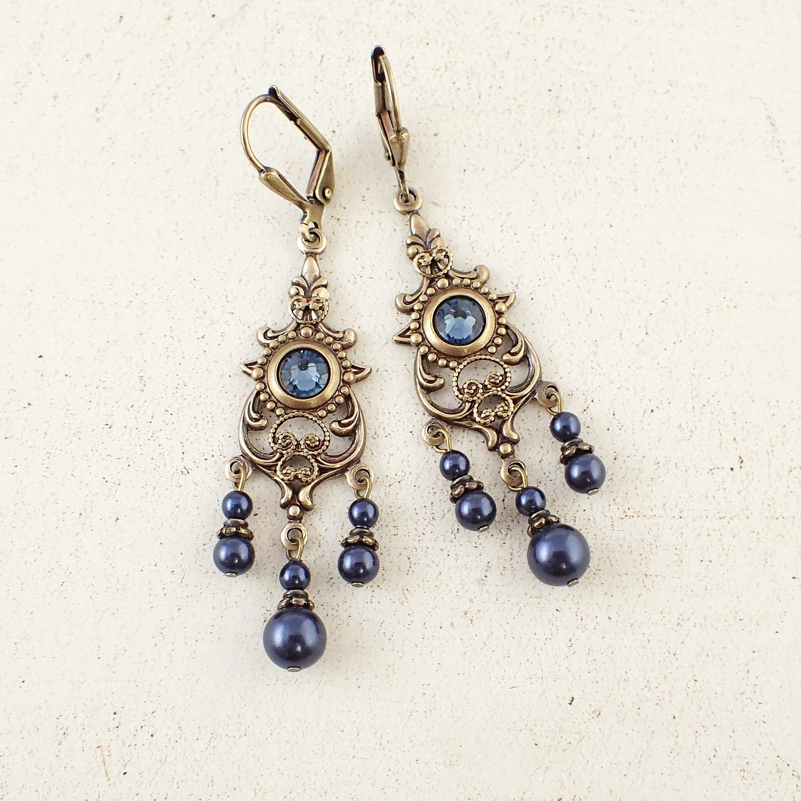 Midnight Blue Chandelier Earrings