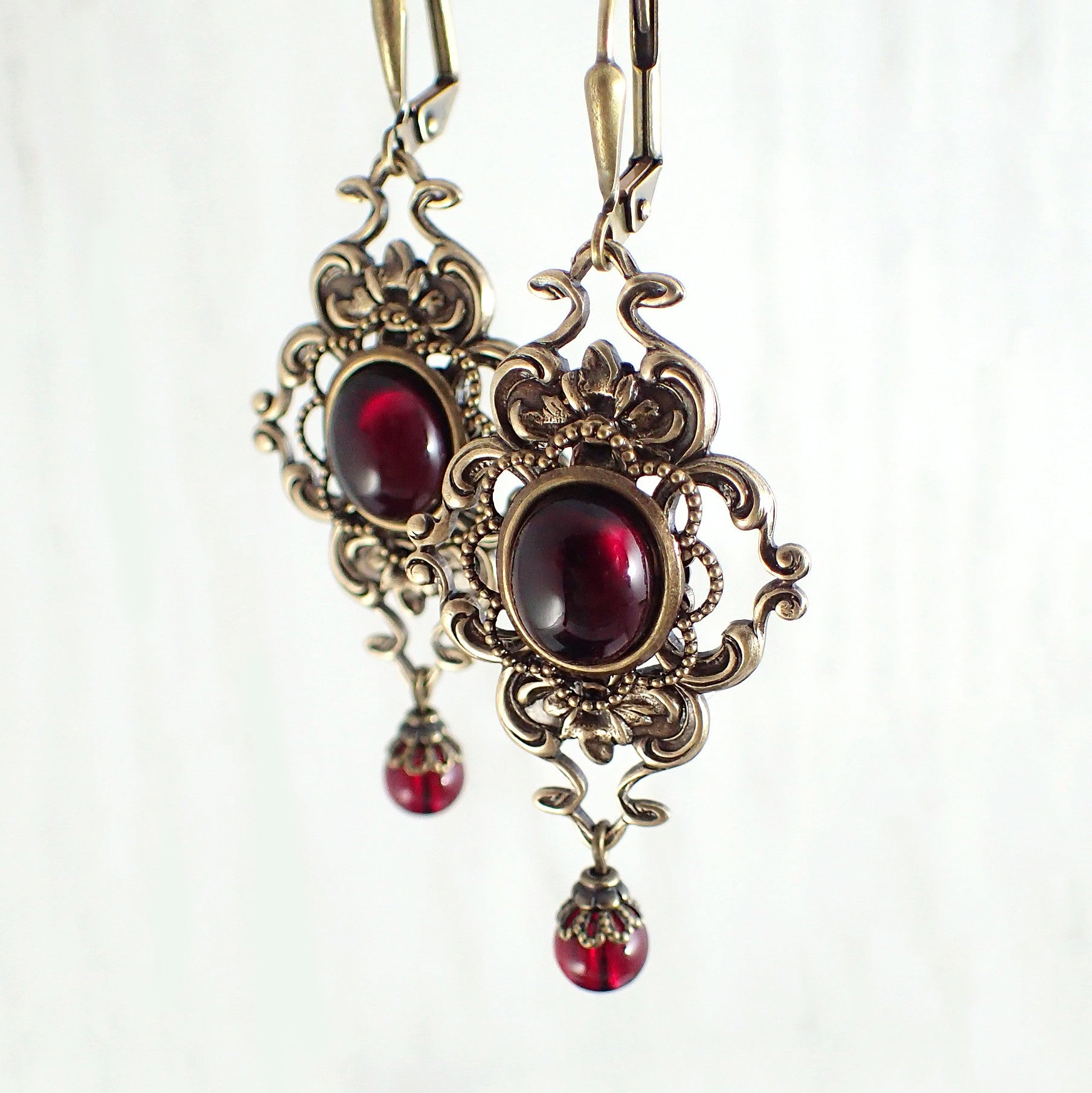 Deep Red Cabochon and Filigree Earrings main image