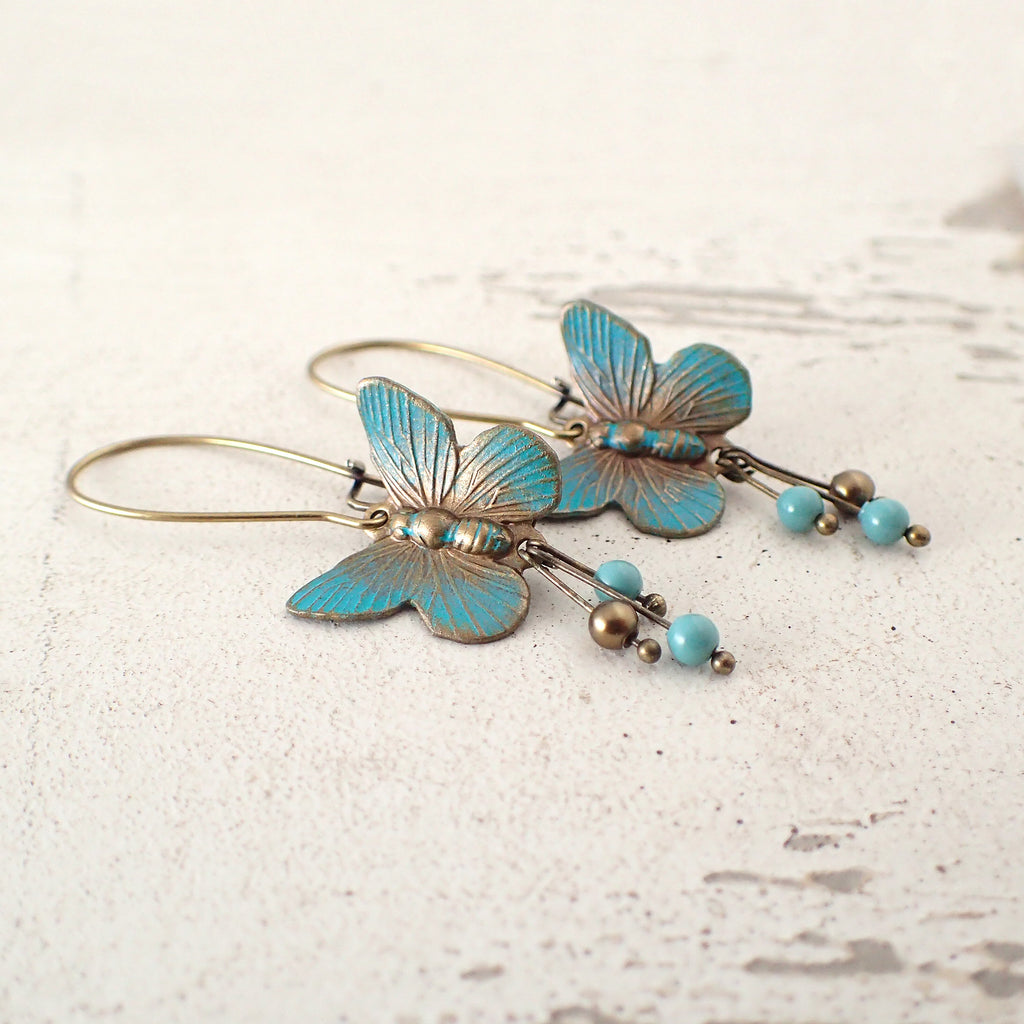 Verdigris Butterfly Earrings