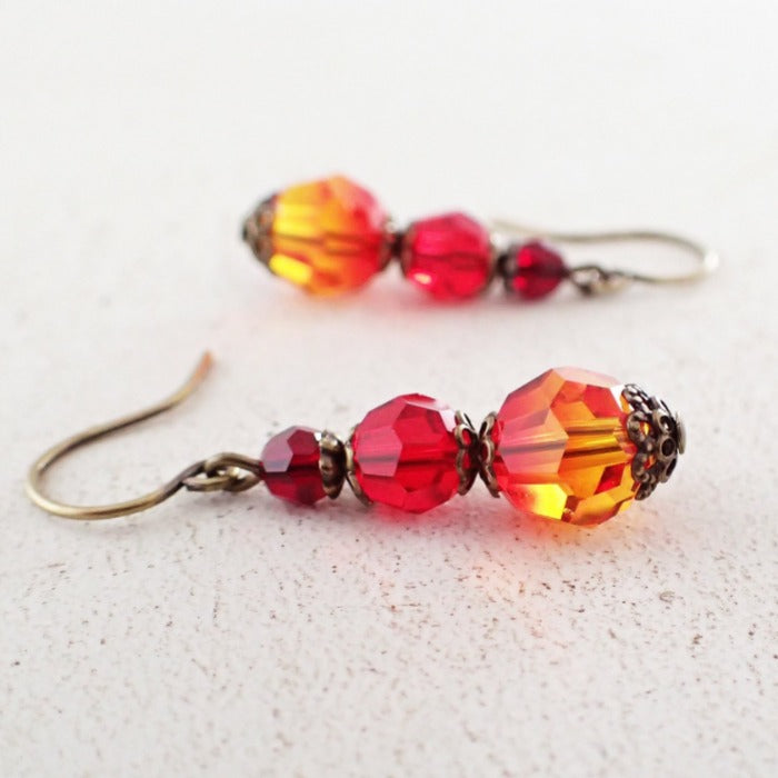 Antique Style Fire Earrings with Swarovski Crystals