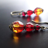 Antique Style Fire Earrings with Swarovski Crystals view 2