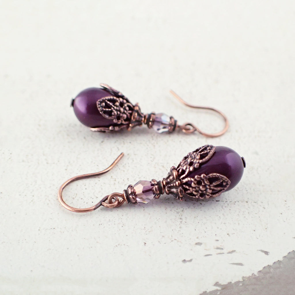 Filigree Wrapped Plum Purple and Copper Earrings
