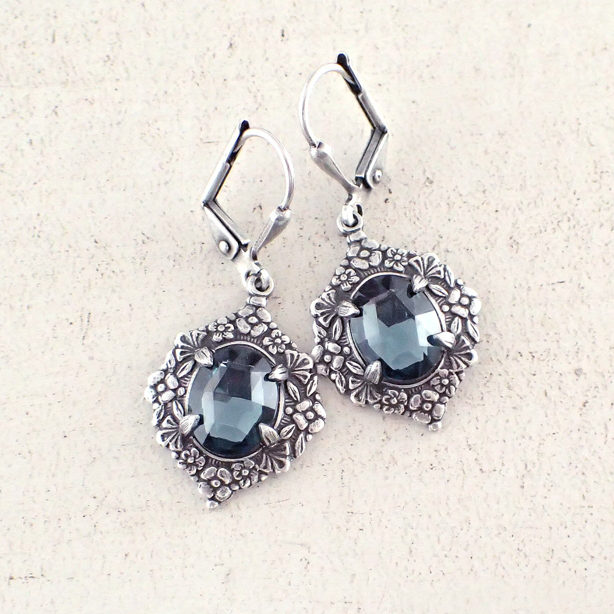 Victorian Style Montana Blue and Silver Earrings