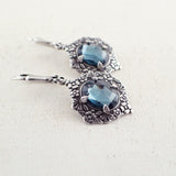 Victorian Style Montana Blue and Silver Earrings side view
