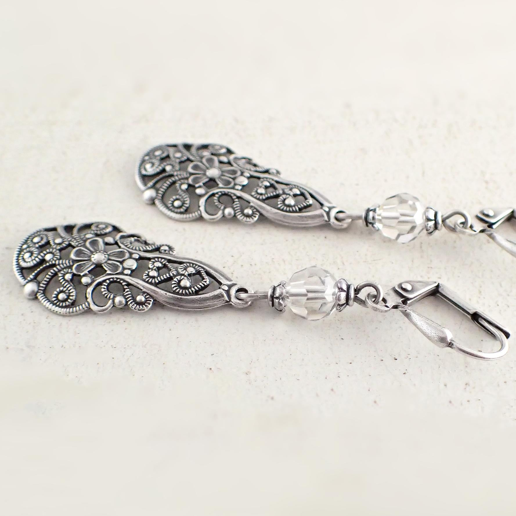 Lacy Silver Victorian Filigree Drop Earrings