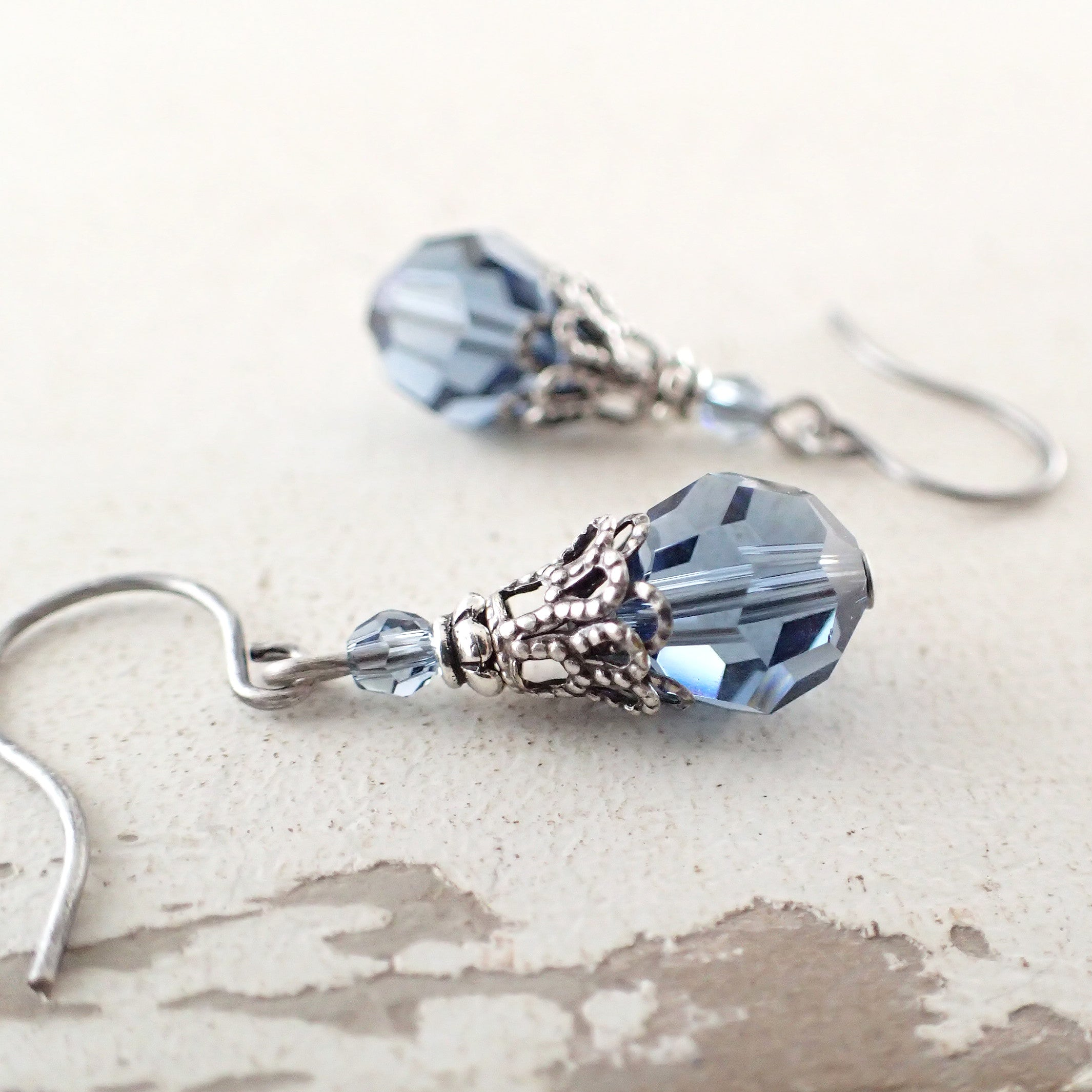 Denim Blue Earrings with Swarovski Crystals