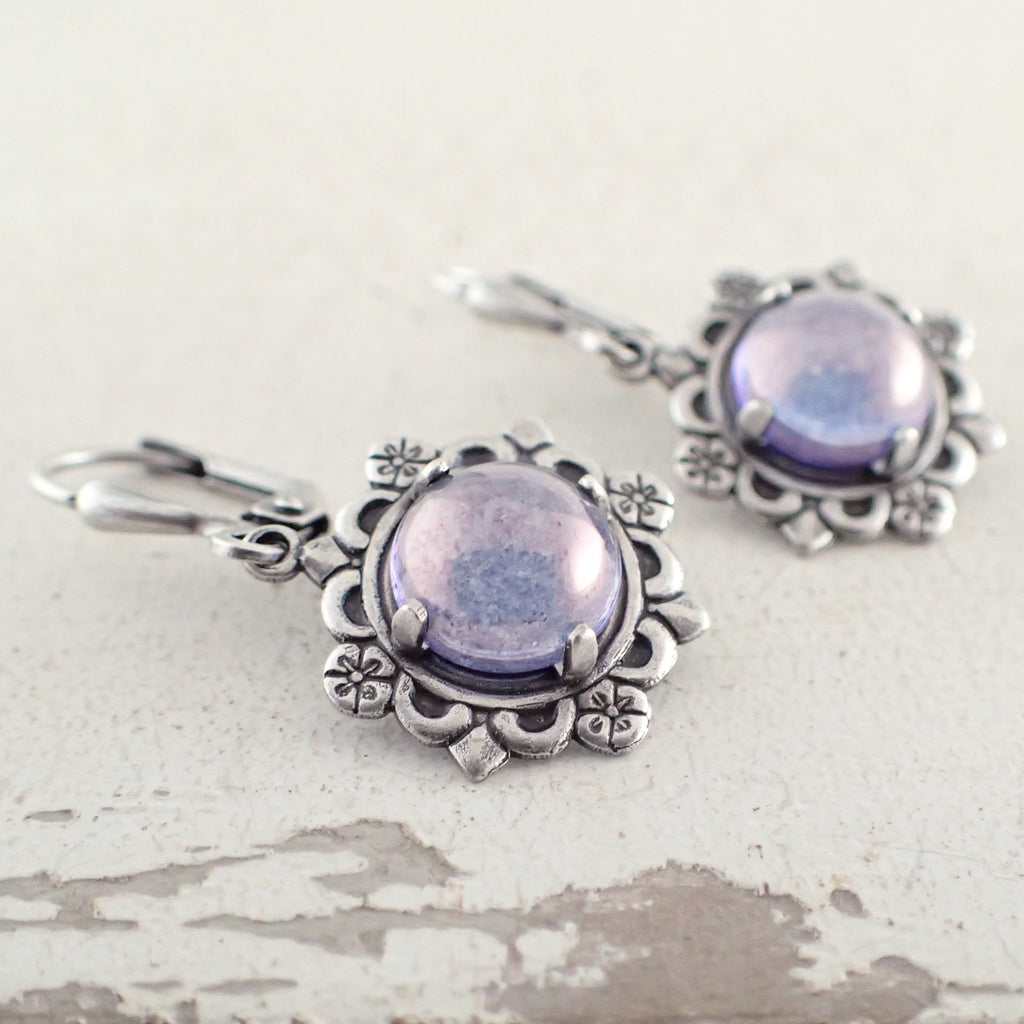 Lustered Lavender Cabochon Earrings