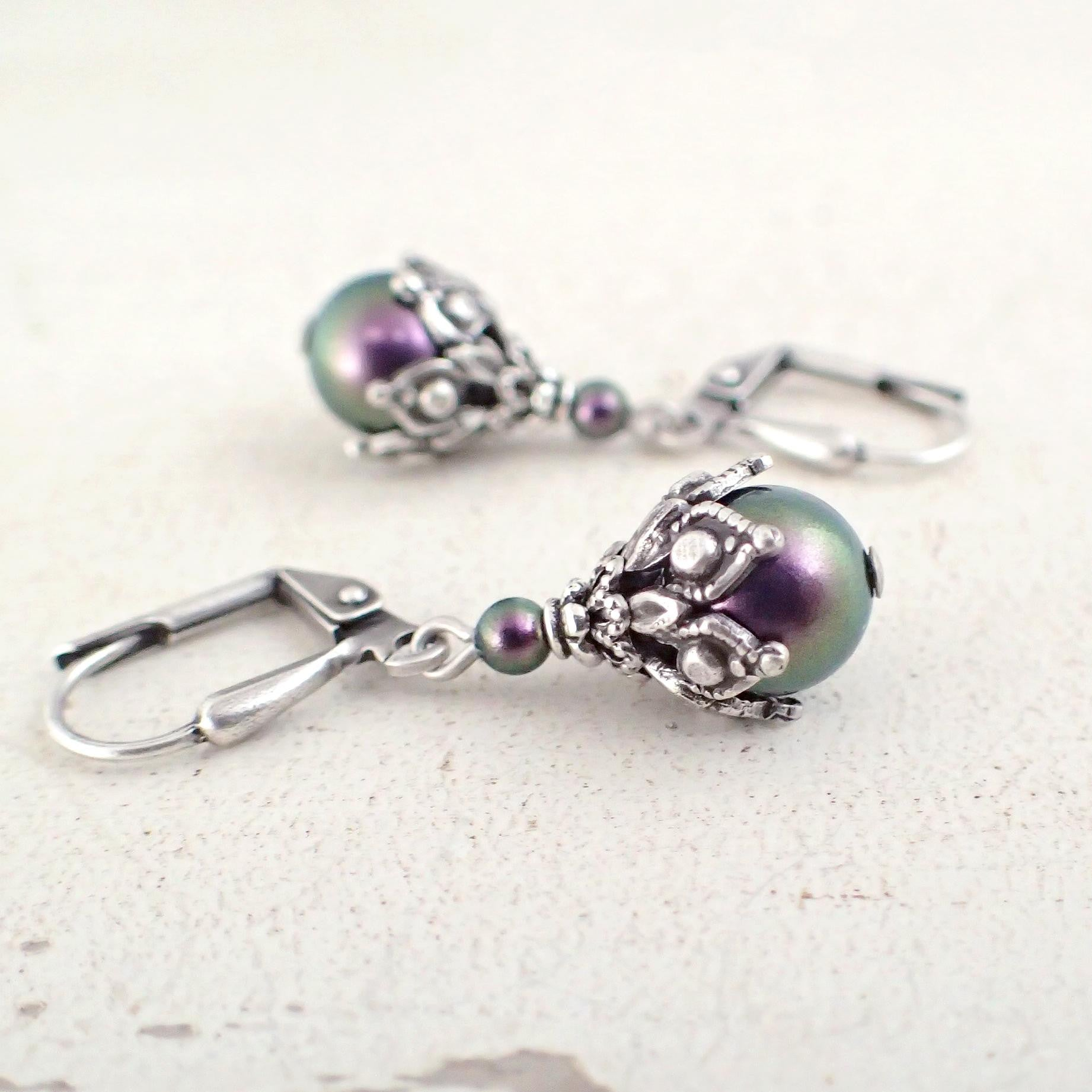 Iridescent Dark Purple Victorian Style Earrings