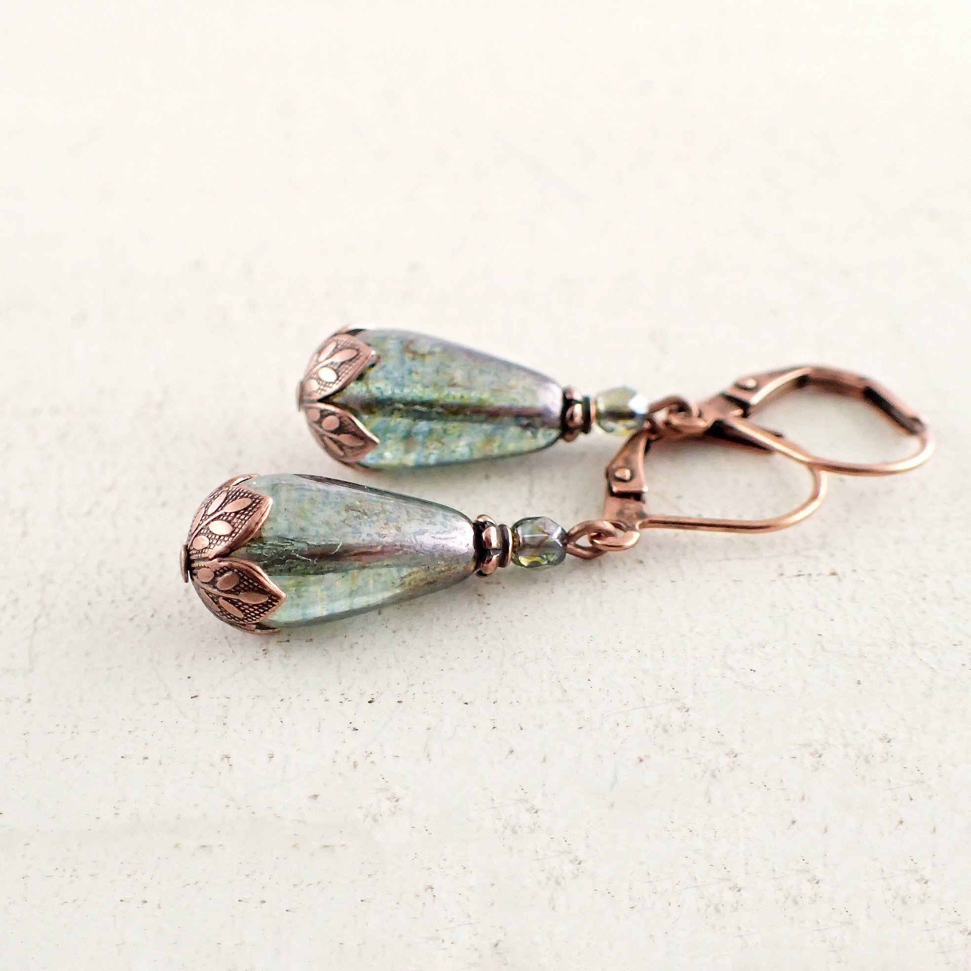 Luminous Green and Copper Teardrop Earrings