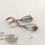 Luminous Green and Copper Teardrop Earrings view 2